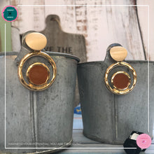 Load image into Gallery viewer, Stylish Chic Stud Earrings in Tan and Gold - Harness Merece by GTG