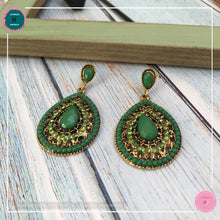 Load image into Gallery viewer, Luxurious Black-tie Stud Drop Earrings in Deep Green - Harness Merece by GTG