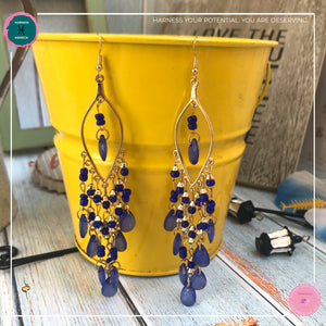Sexy Teardrop Chandelier Earrings in Blue and Gold - Harness Merece by GTG