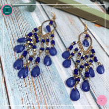 Load image into Gallery viewer, Sexy Teardrop Chandelier Earrings in Blue and Gold - Harness Merece by GTG