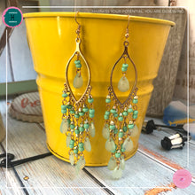 Load image into Gallery viewer, Sexy Teardrop Chandelier Earrings in Mint Green and Gold - Harness Merece by GTG