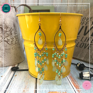 Sexy Teardrop Chandelier Earrings in Mint Green and Gold - Harness Merece by GTG