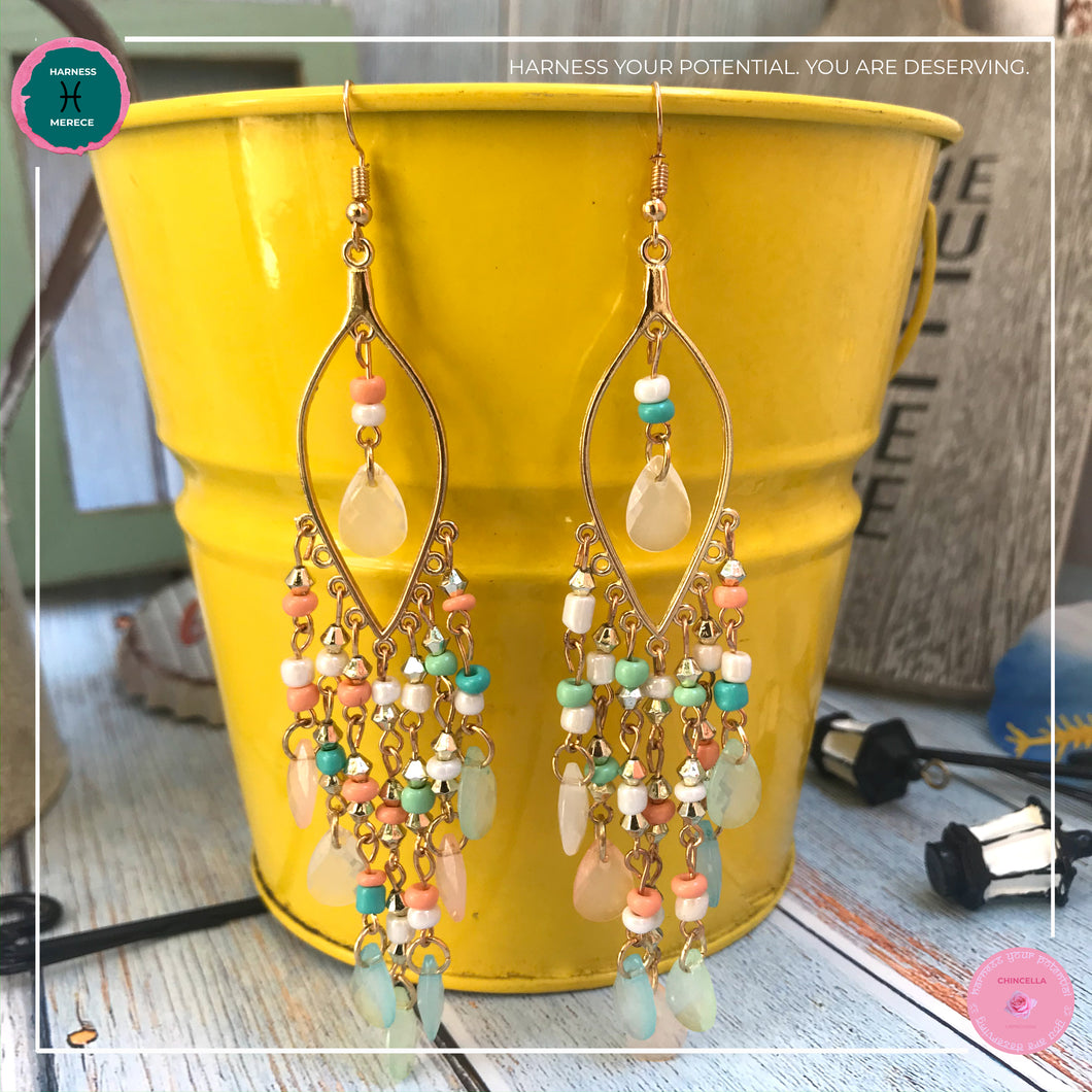 Sexy Teardrop Chandelier Earrings in Pastel Colours and Gold - Harness Merece by GTG