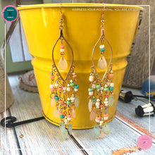 Load image into Gallery viewer, Sexy Teardrop Chandelier Earrings in Pastel Colours and Gold - Harness Merece by GTG
