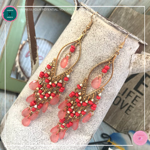 Sexy Teardrop Chandelier Earrings in Red and Gold - Harness Merece by GTG