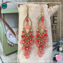 Load image into Gallery viewer, Sexy Teardrop Chandelier Earrings in Red and Gold - Harness Merece by GTG