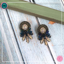 Load image into Gallery viewer, Luxurious Retro Stud Earrings in Dark Blue and Blush Pink - Harness Merece by GTG