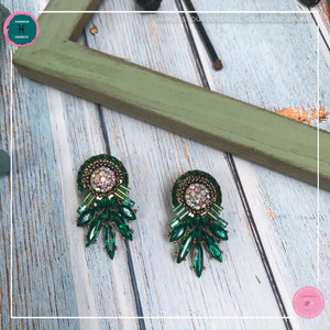 Luxurious Retro Stud Earrings in Green - Harness Merece by GTG