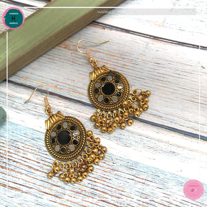 Bohemian Egyptian-Inspired Dangle Earrings in Black and Gold - Harness Merece by GTG