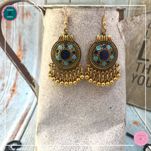 Load image into Gallery viewer, Bohemian Egyptian-Inspired Dangle Earrings in Blue and Gold - Harness Merece by GTG