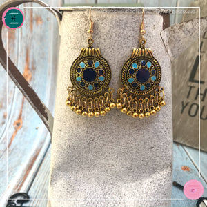 Bohemian Egyptian-Inspired Dangle Earrings in Blue and Gold - Harness Merece by GTG