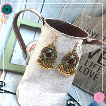 Load image into Gallery viewer, Jasmine Maroon Gold Dangling Earrings - Harness Merece by GTG