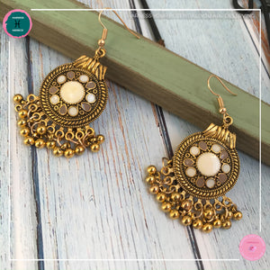 Bohemian Egyptian-Inspired Dangle Earrings in Ivory White and Gold - Harness Merece by GTG