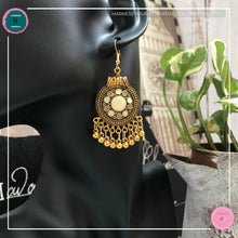 Load image into Gallery viewer, Bohemian Egyptian-Inspired Dangle Earrings in Ivory White and Gold - Harness Merece by GTG