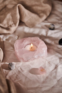 Rose Quartz Tea Light Candle Holder