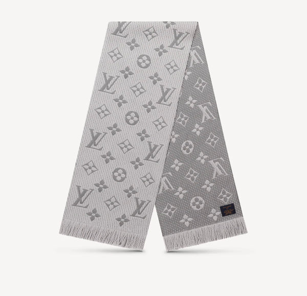 LOUIS VUITTON GREY LOGOMANIA SCARF