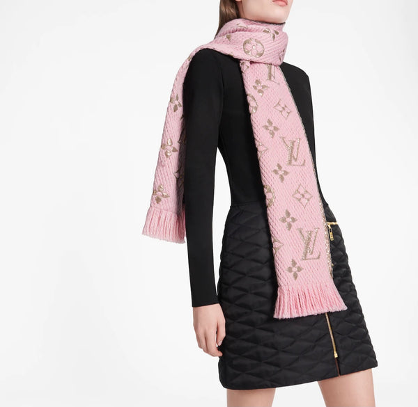 Louis Vuitton Pink Logomania Shine Scarf