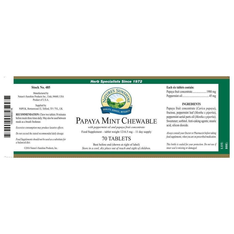 Papaya Mint Chewable - Natures Sunshine
