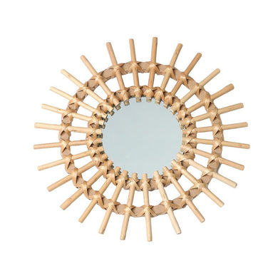 French Sunshine rattan mirror