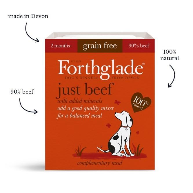 Forthglade Just 90% Just Beef Natural Grain Free Wet Dog Food (18x395g)
