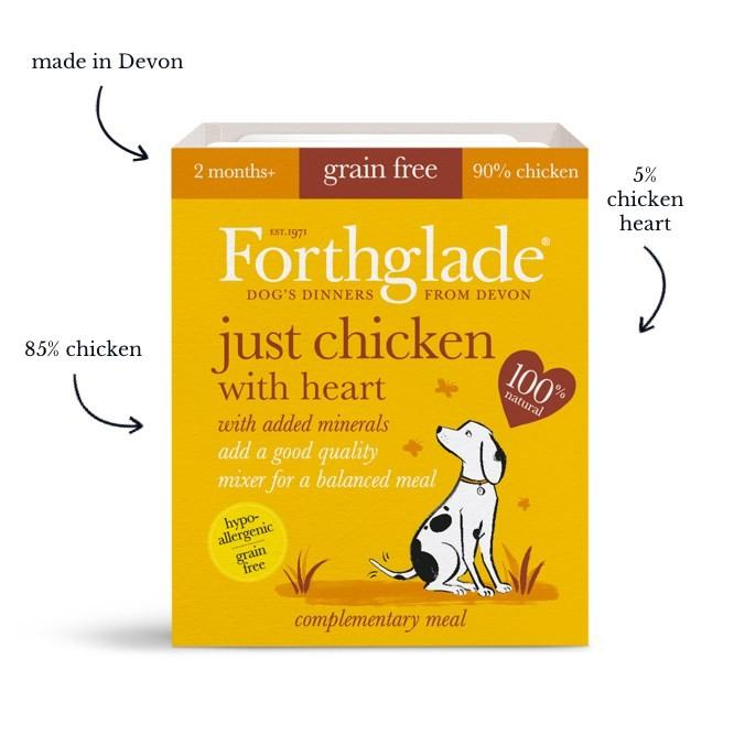 Forthglade Just 90% Just chicken with heart natural wet dog food (18x395g)