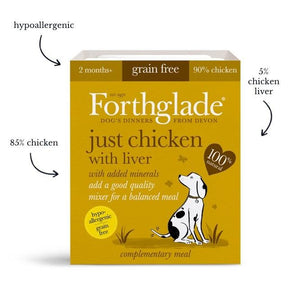 Forthglade Just Chicken, Chicken With Liver & Turkey Natural Wet Dog Food Variety Pack (12x395g)