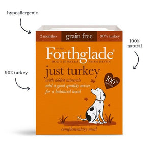 Forthglade Just 90% Just Turkey natural wet dog food (18x395g)