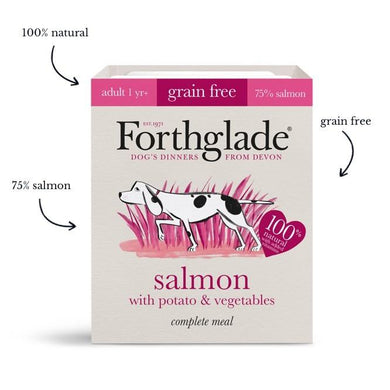 Forthglade Complete Meal Grain Free Salmon with potato & vegetables natural wet dog food (18x395g)