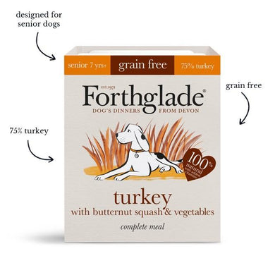 Forthglade Complete Meal Grain Free Turkey with butternut squash & vegetables Natural Wet Dog Food Senior (18x395g)
