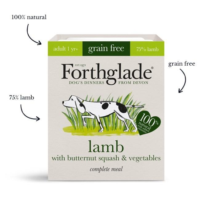 Forthglade Complete Meal Grain Free Lamb with butternut squash & vegetables natural wet dog food (18x395g)