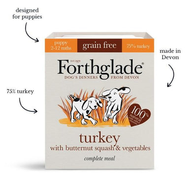 Forthglade Complete Meal Grain Free Turkey with butternut squash & vegetables Natural Wet Dog Food Puppy (18x395g)