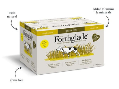 Forthglade Complete; Chicken, Turkey & Chicken With Liver Natural Wet Dog Food Variety Pack (12x395g)