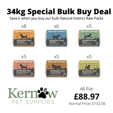Natural Instinct 34kg Working Dog Variety Box (all in 1kg size)