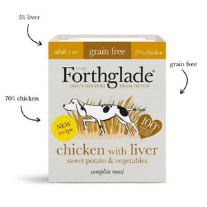 Forthglade Complete Meal Grain Free Chicken & Liver with sweet potato & vegetables natural wet dog food (18x395g)