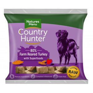 Country Hunter Dog Raw Frozen Nuggets Farm Reared Turkey 1kg