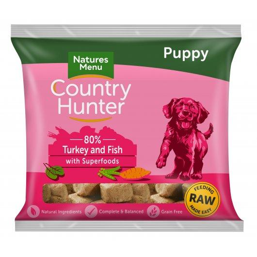Country Hunter Dog Raw Frozen Nuggets Turkey & Fish Puppy 1kg