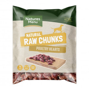 Natures Menu Raw Frozen Meat Chunks Poultry Hearts 1kg