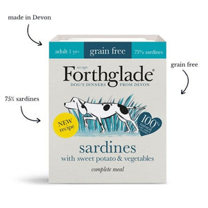 Forthglade Complete Meal Grain Free Sardines with sweet potato & vegetables natural wet dog food (18x395g)