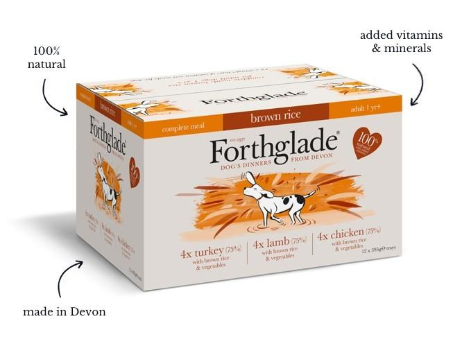 Forthglade Complete Meal with Brown Rice  Turkey Lamb & Chicken Natural Wet Dog Food Variety Pack (12x395g)