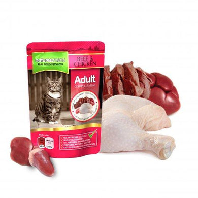 Natures Menu Adult Cat Pouches Beef & Chicken 12x100g