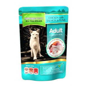 Natures Menu Adult Cat Pouches Chicken, Salmon & Tuna 12x100g