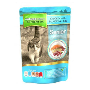 Natures Menu Senior Cat Pouches Chicken, Salmon & Cod 12x100g