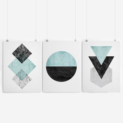 print set of blue geometric art South Africa