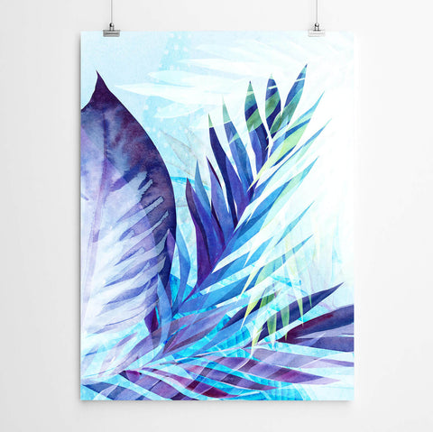 Blue Abstract Palms