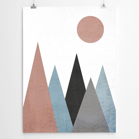 Geometric mountain print poster