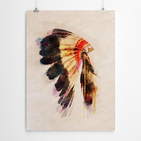 Indian Head Dress Print
