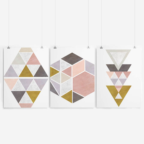 Pink Geometric Art Print Set