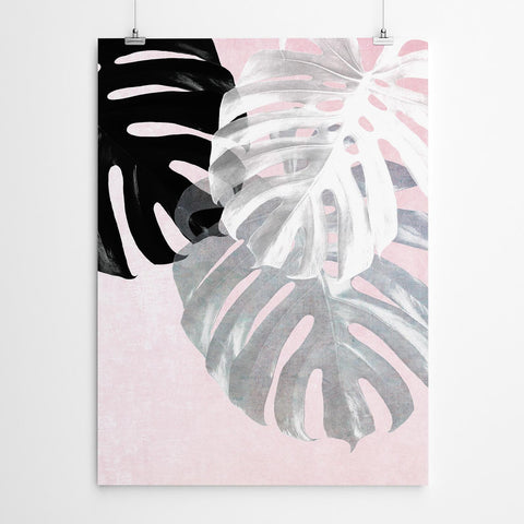 Pink Monstera Leaf Art Print
