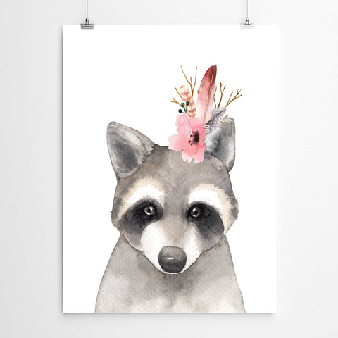 Watercolour Raccoon Nursery Art