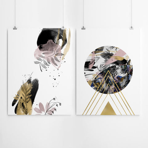 Black And Gold Geometric Wall Art
